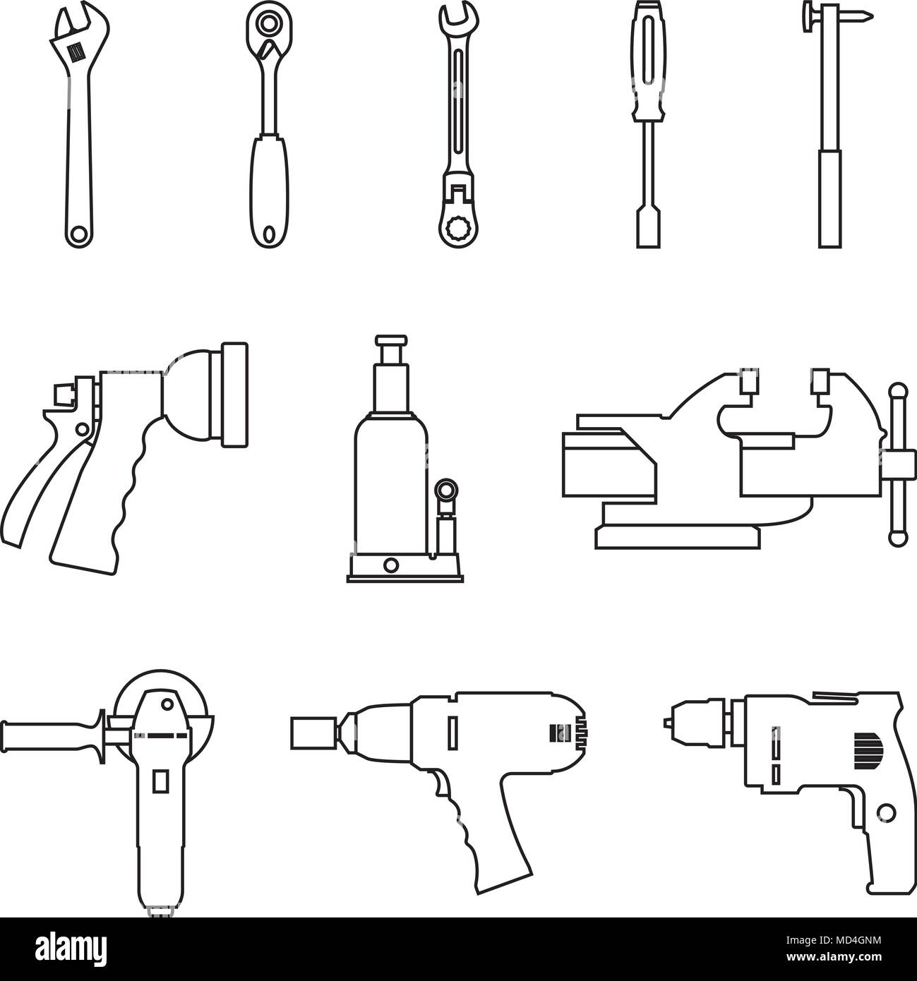 Power tools and hand tool for repairing and manufacturing. Vector thin line - Stock Vector