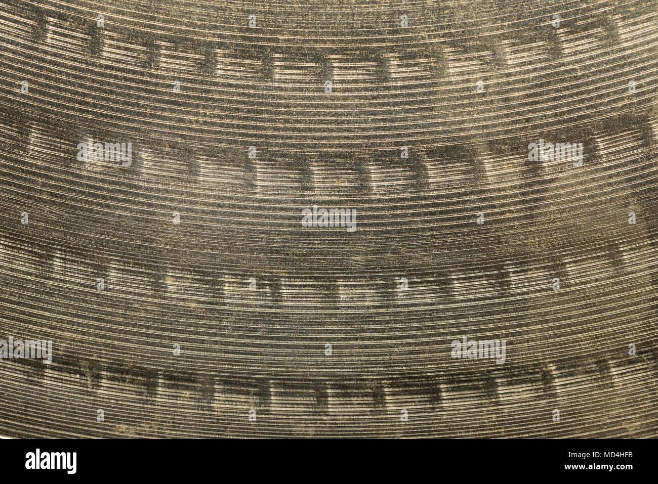 Drum cymbals surface macro closeup - Stock Image