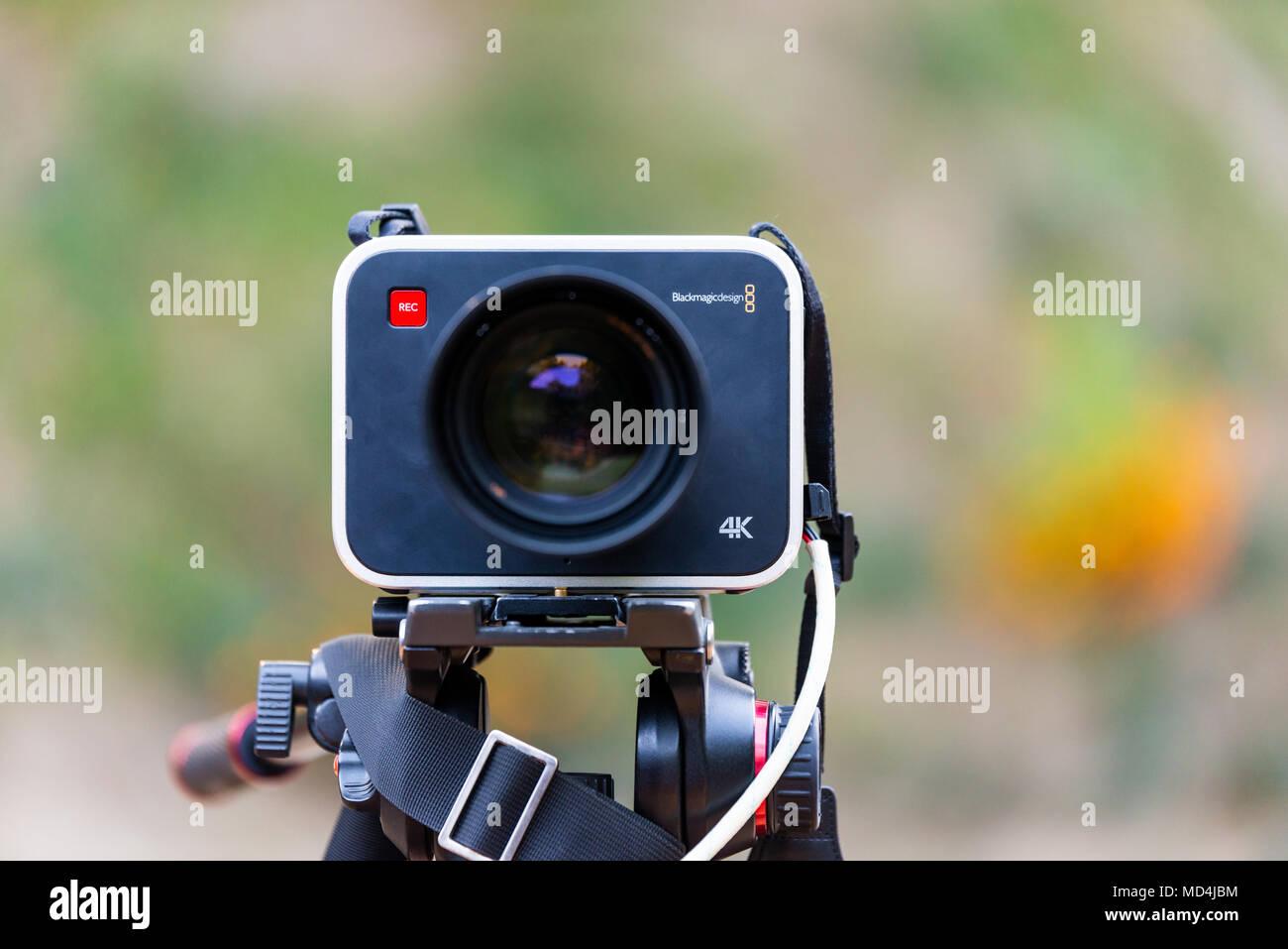 KATHMANDU, NEPAL - CIRCA OCTOBER 2016: A Blackmagic Design Production Camera 4K on a tripod. Blackmagic Design is an Australian digital cinema company - Stock Image