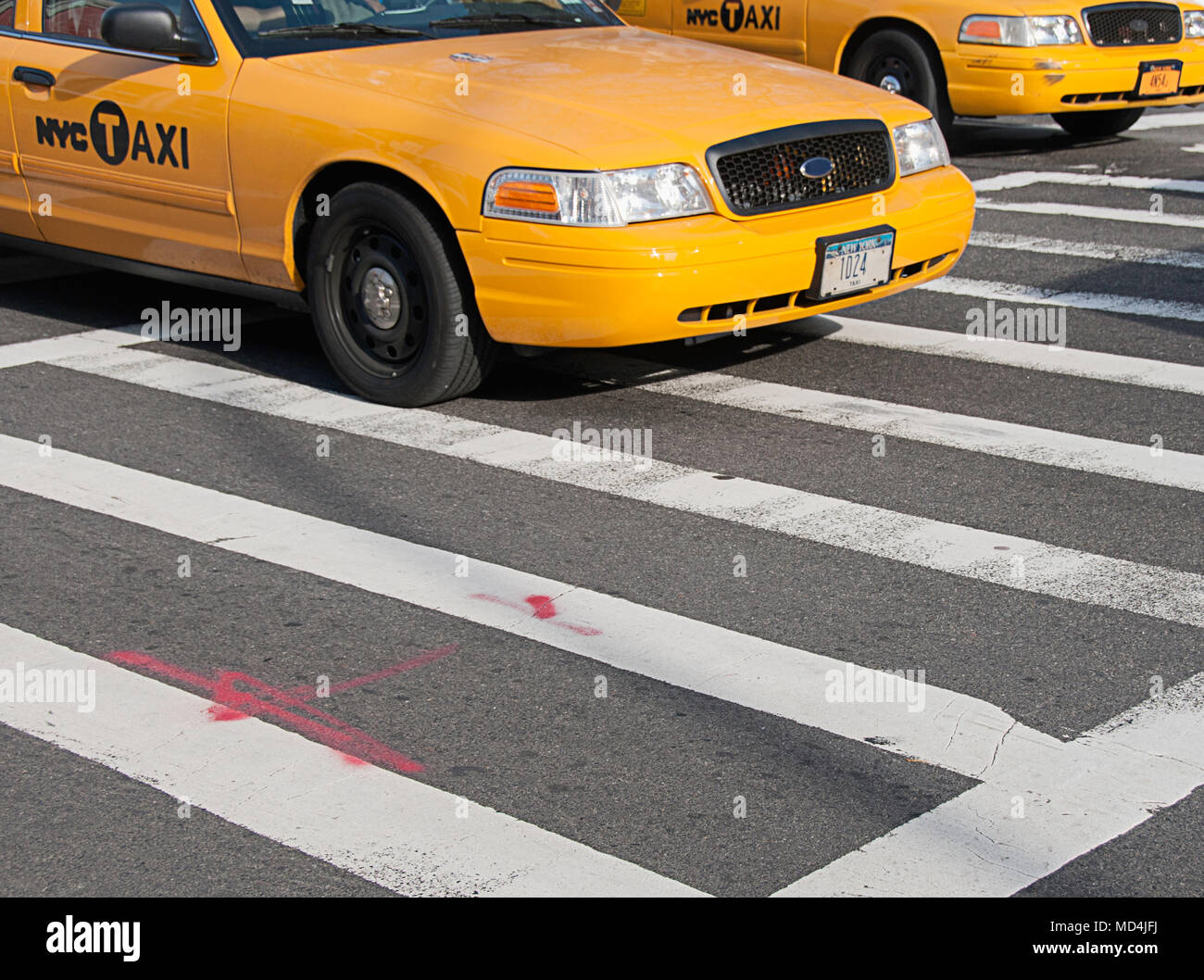 New York City taxis. - Stock Image