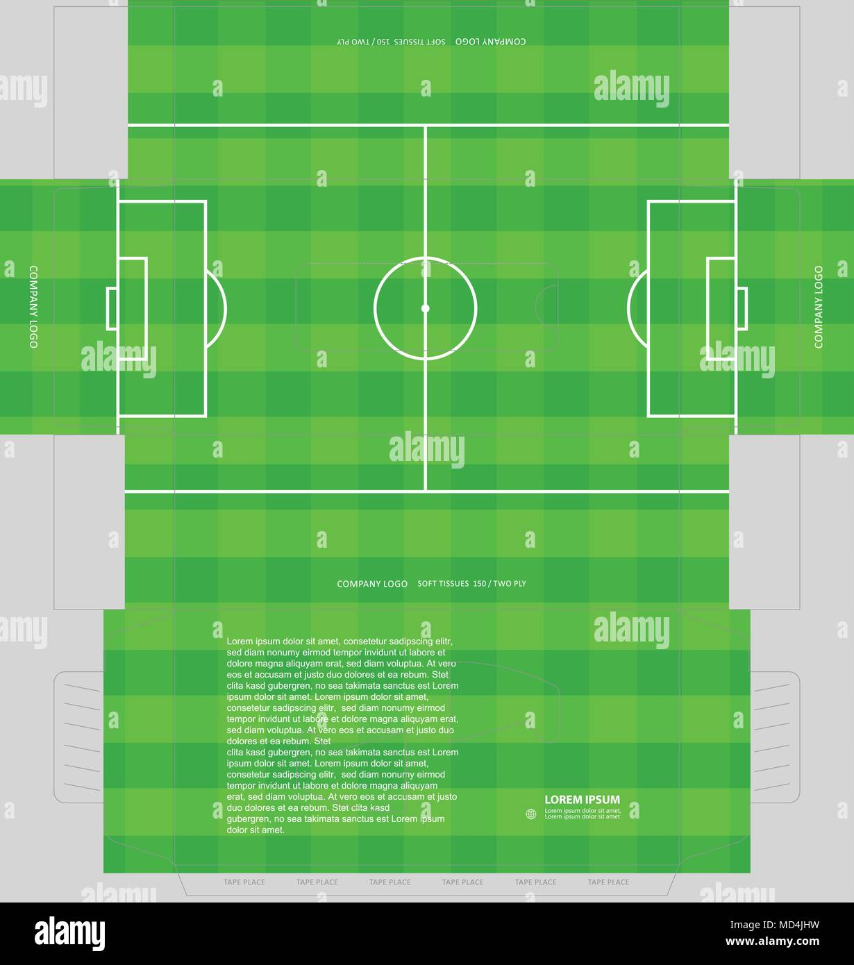 soccer field or football playground tissue box concept template for