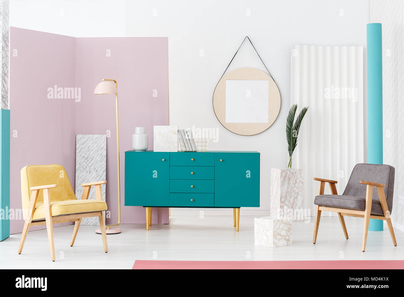 Stylish Furniture Campaign Idea For A Modern Living Room Interior With Pastel Colors Turquoise Blue Scandinavian Style Sideboard And Elegant Decorati Stock Photo Alamy
