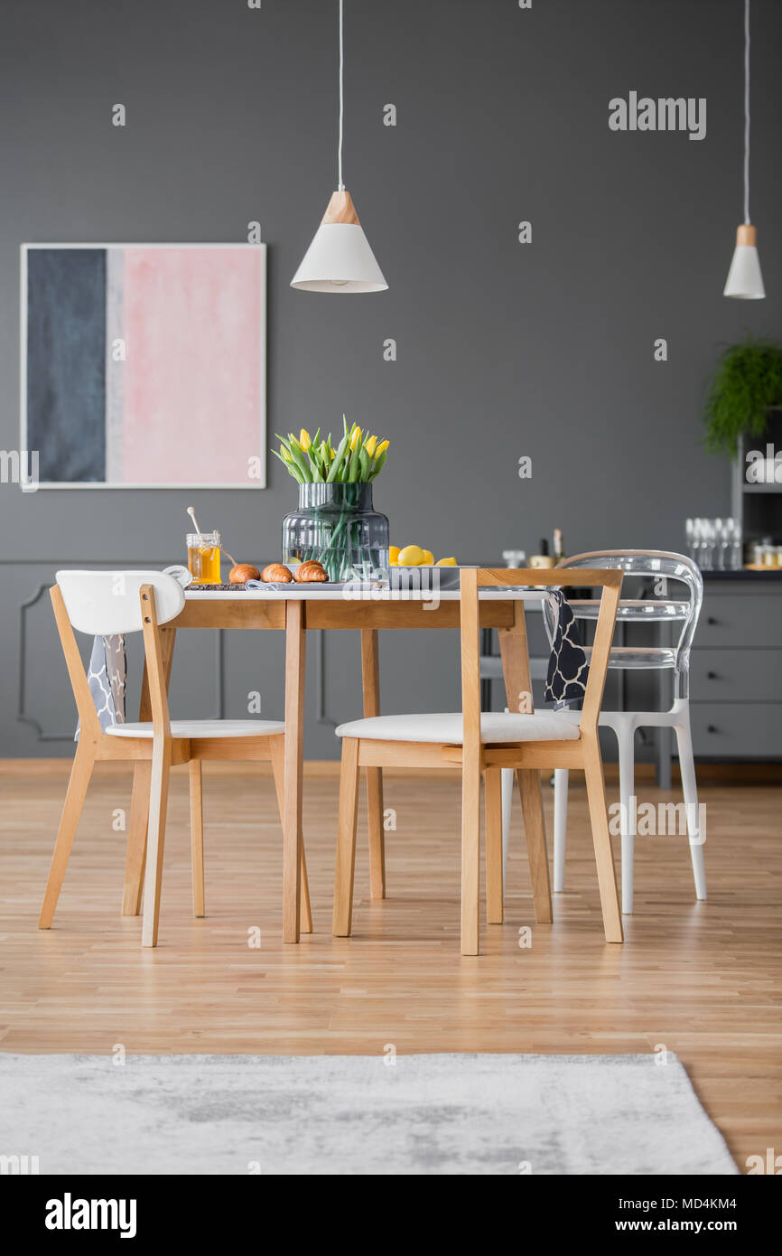 Creative Design Modern Dining Chairs Around A Simple Kitchen Table