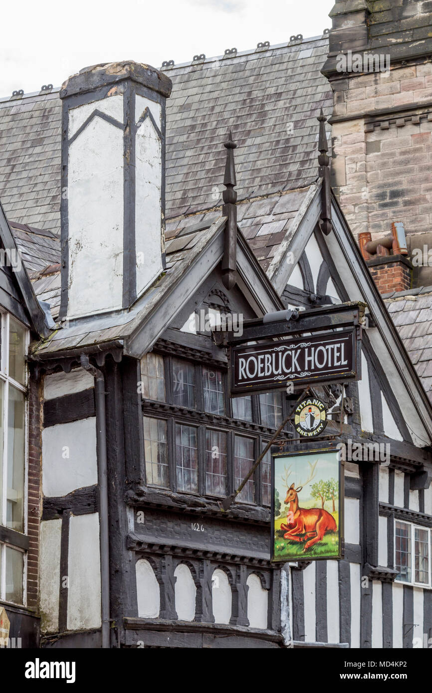 Roebuck hotel, Leek town centre shopping centre in the county of Staffordshire, England, uk, gb - Stock Image