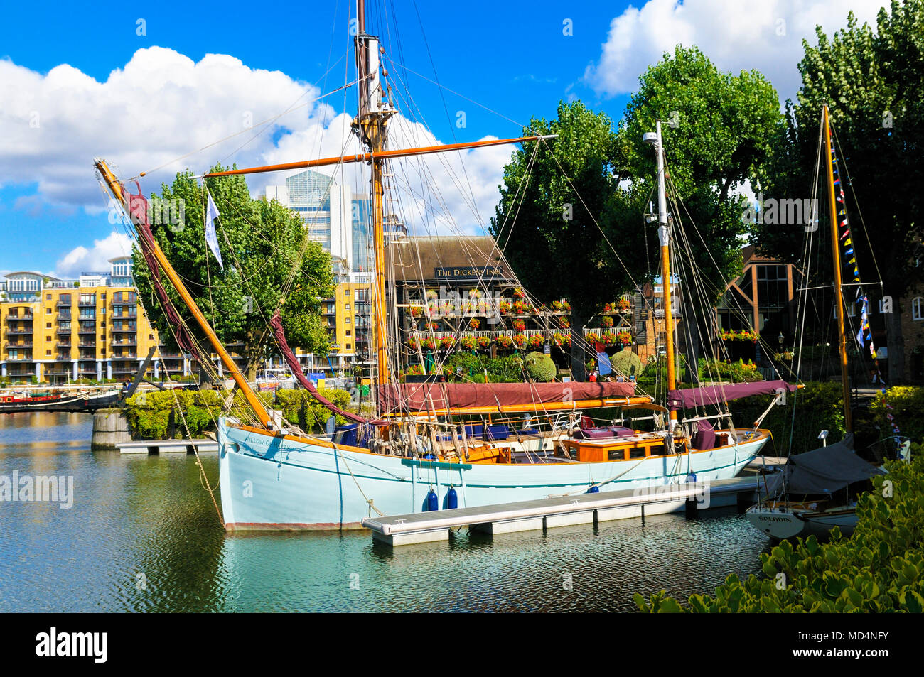 'Willow of Harty' sailing vessel moored in St Katharine Docks, Tower Hamlets, London, England, UK - Stock Image