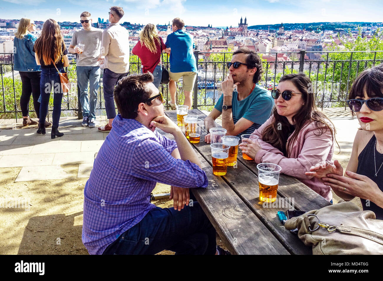 People at beer garden Letensky zamecek in Letna Park, Prague, Czech Republic - Stock Image