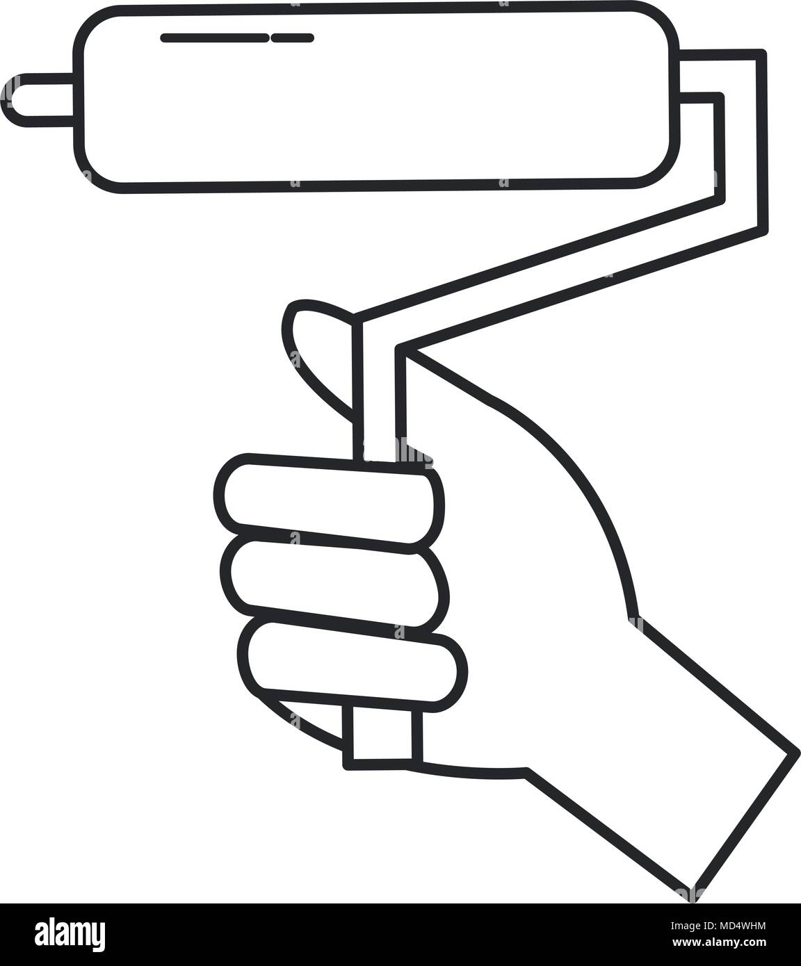 hand with roller paint tool - Stock Vector