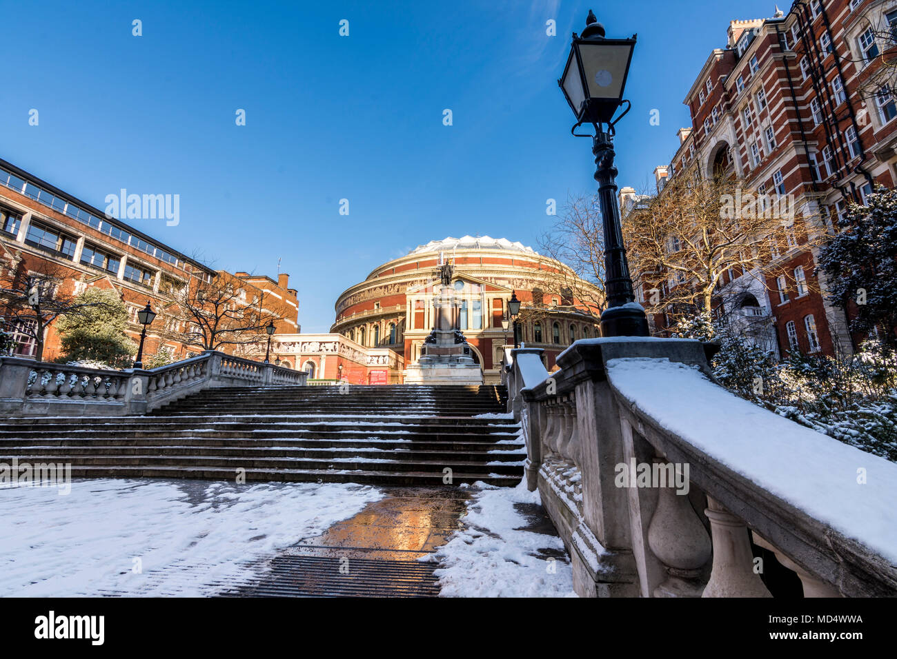 London, UK - February 2, 2018: The entrance of the Royal Albert Hall in London, UK covered in snow - Stock Image