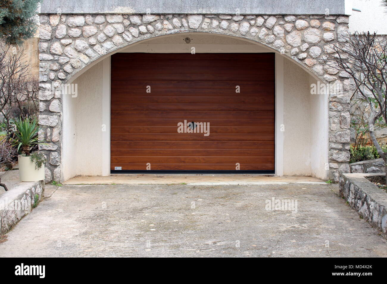 Modern Roll Up Metal Garage Door With Faux Wood Grain Finish
