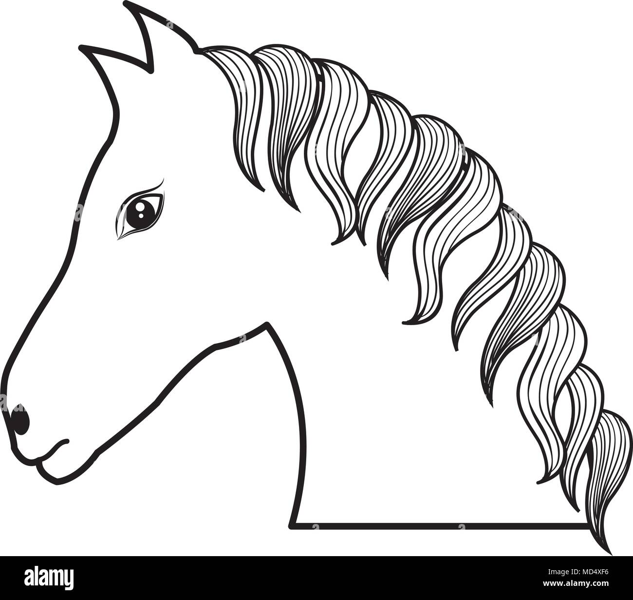 horse drawing isolated icon - Stock Image