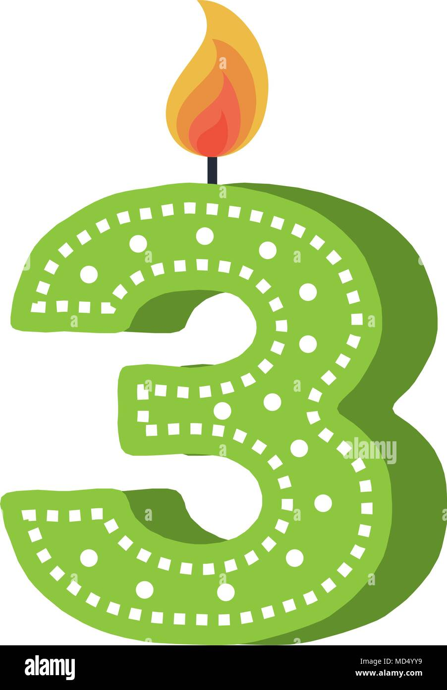 birthday candle with number three - Stock Image