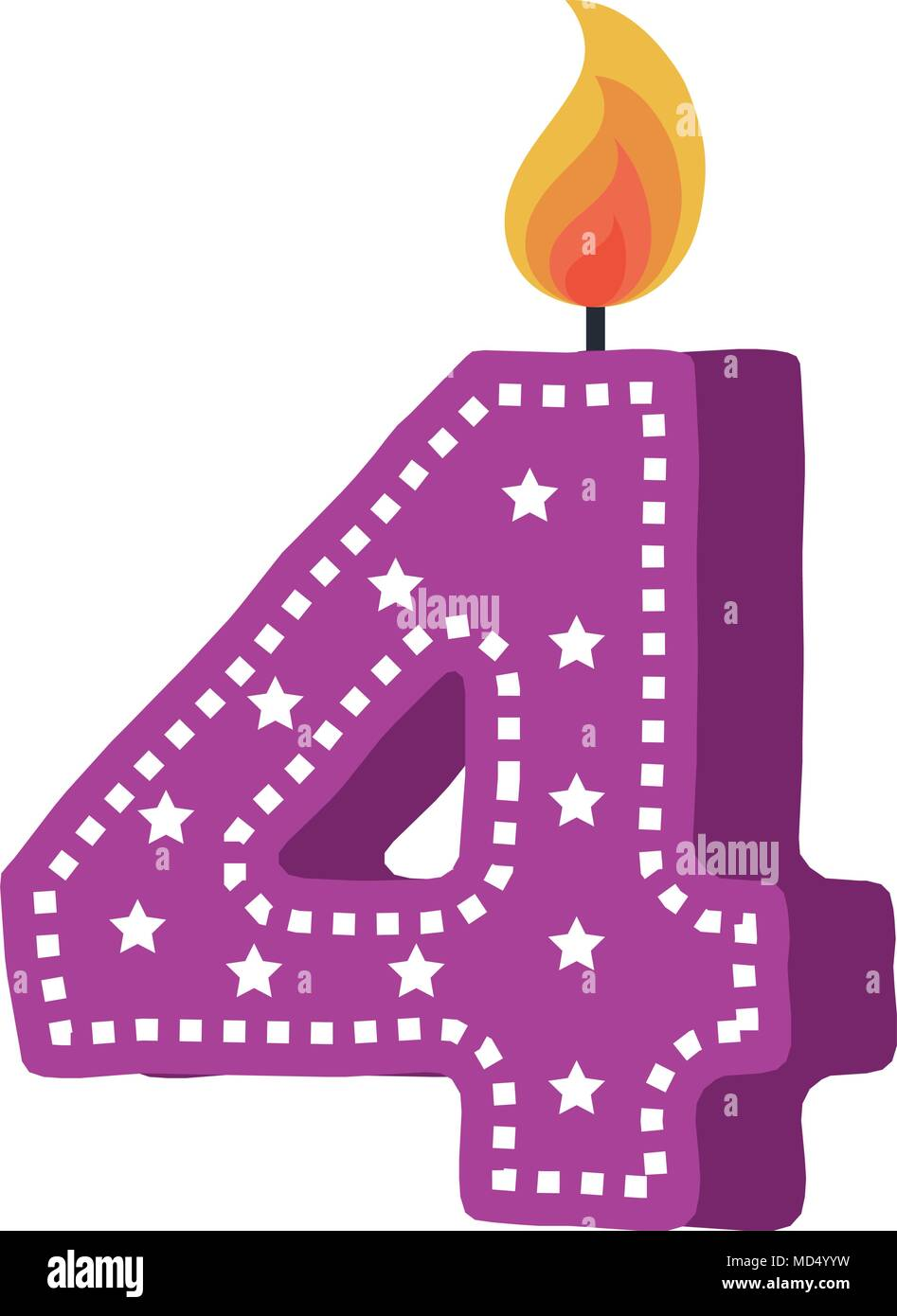 birthday candle with number four Stock Vector