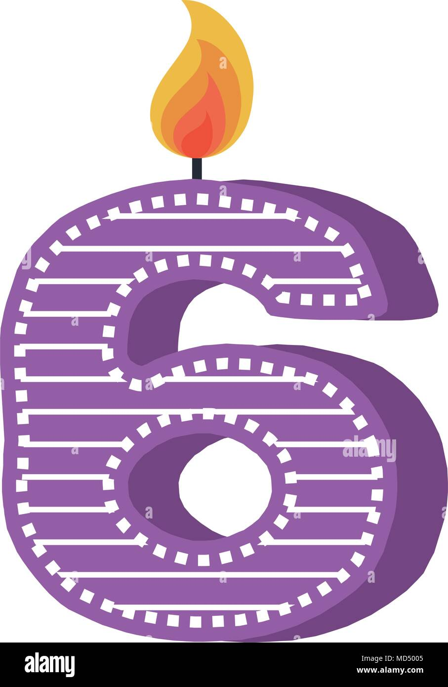 birthday candle with number six - Stock Image