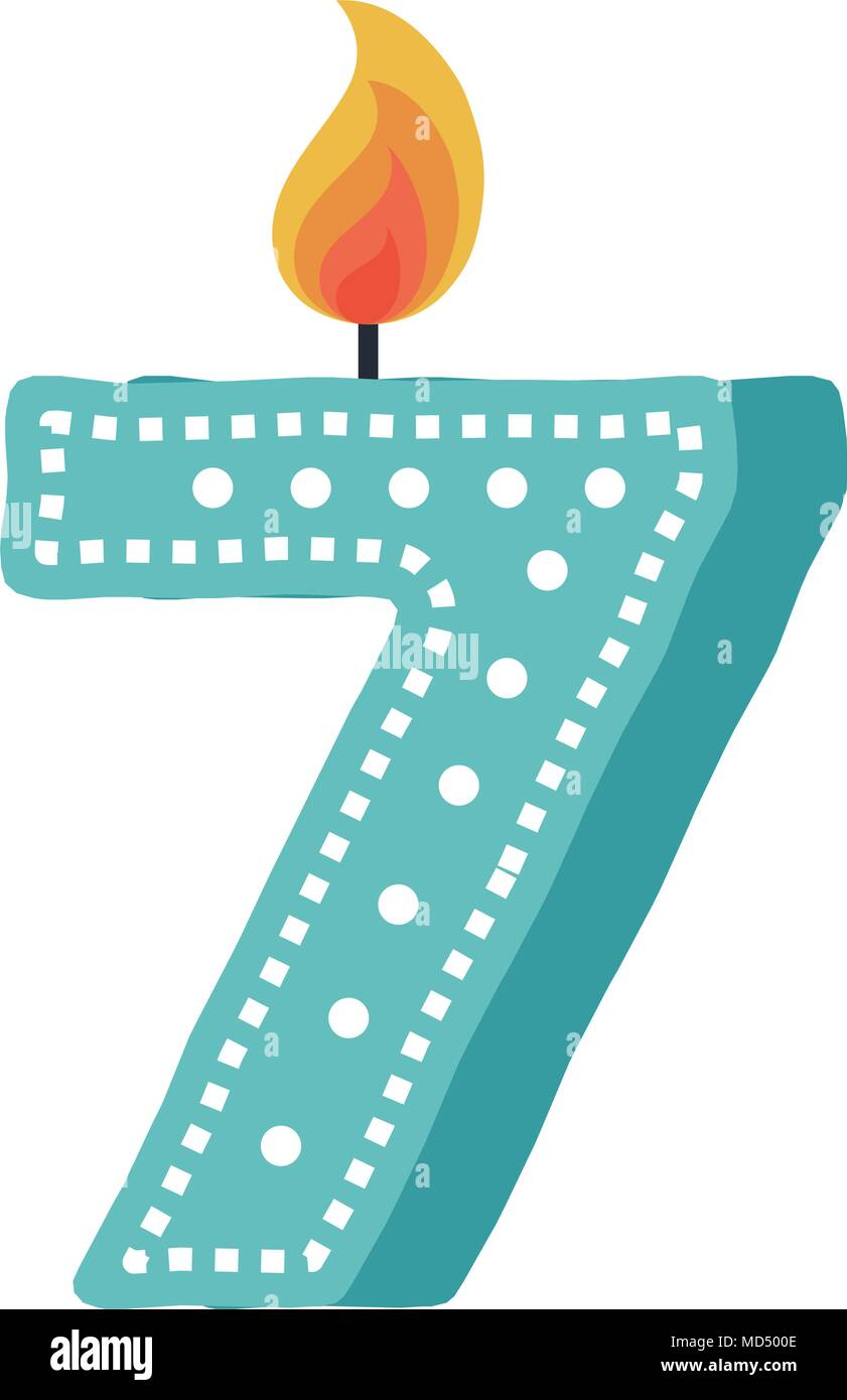 birthday candle with number seven - Stock Image