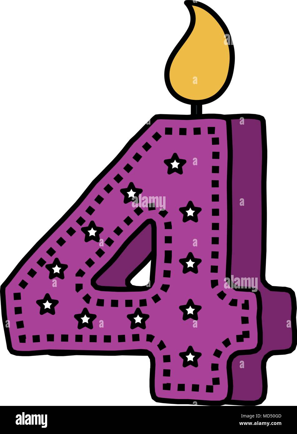 birthday candle with number four - Stock Image