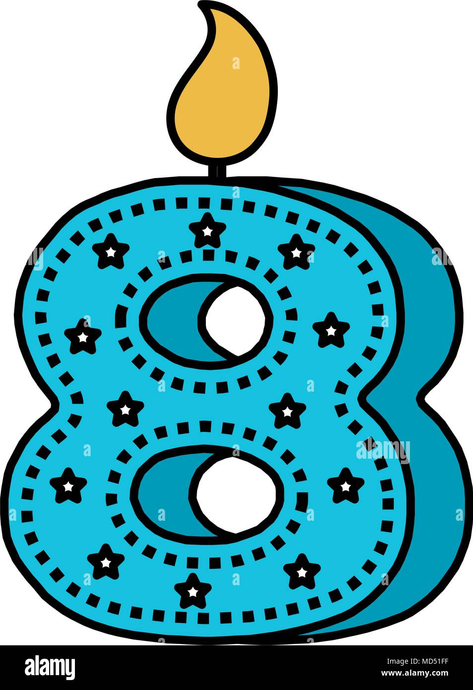 birthday candle with number eight - Stock Image