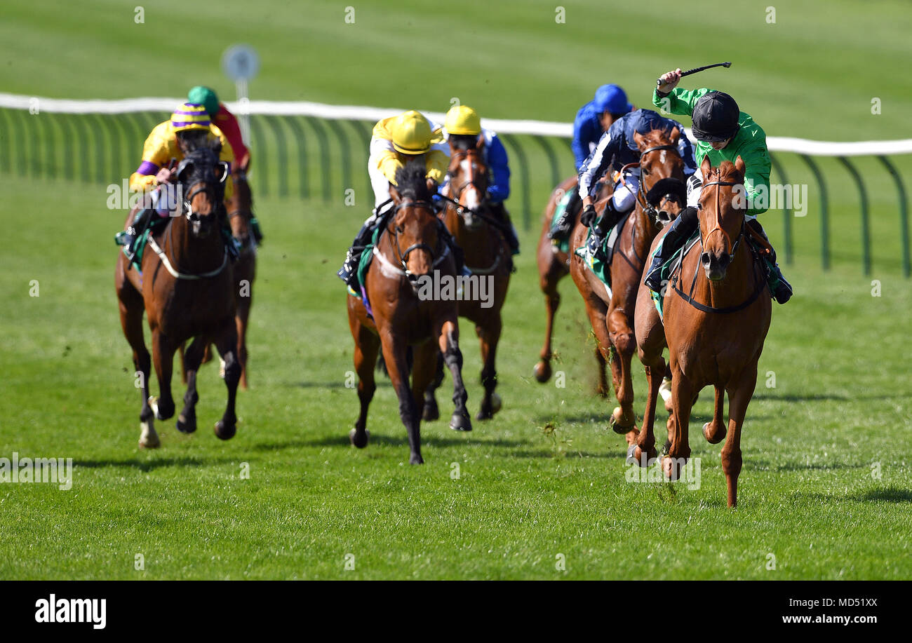 Anna Nerium ridden by Jockey Tom Marquand (right) on the way to