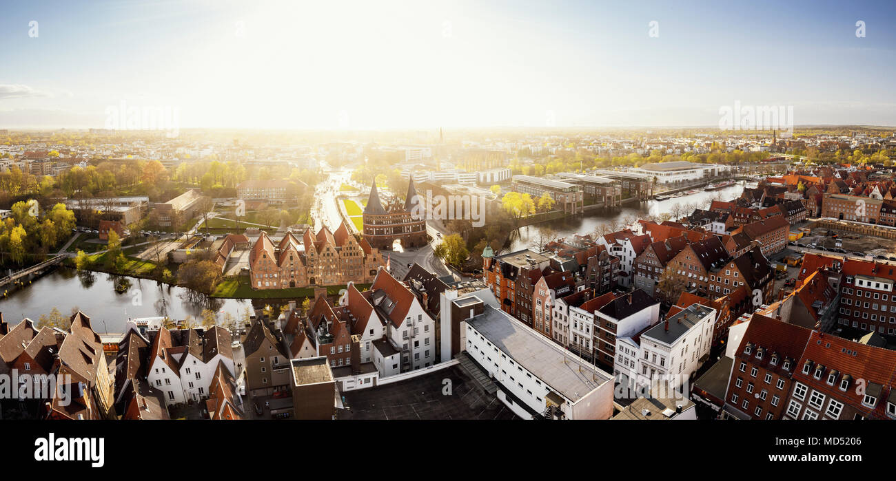 Lübeck and the Holstentor at sunset, Schleswig-Holstein, Germany - Stock Image