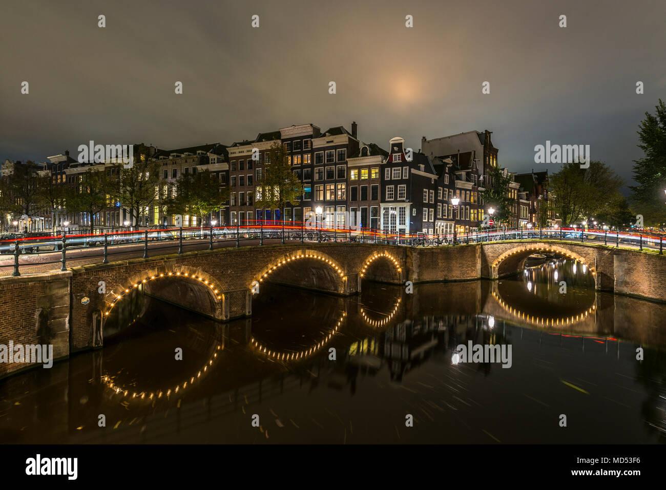 Prinsengracht at night, Amsterdam, Holland, Netherlands - Stock Image