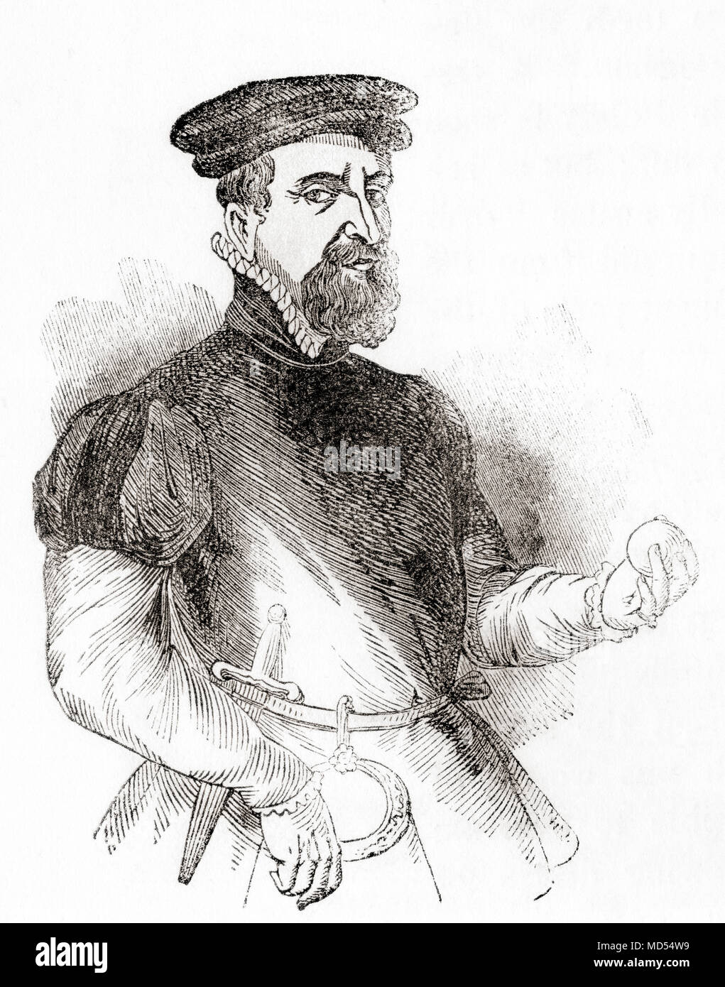 Sir Thomas Gresham the Elder, c. 1519 – 1579.  English merchant and financier.  From Old England: A Pictorial Museum, published 1847. Stock Photo