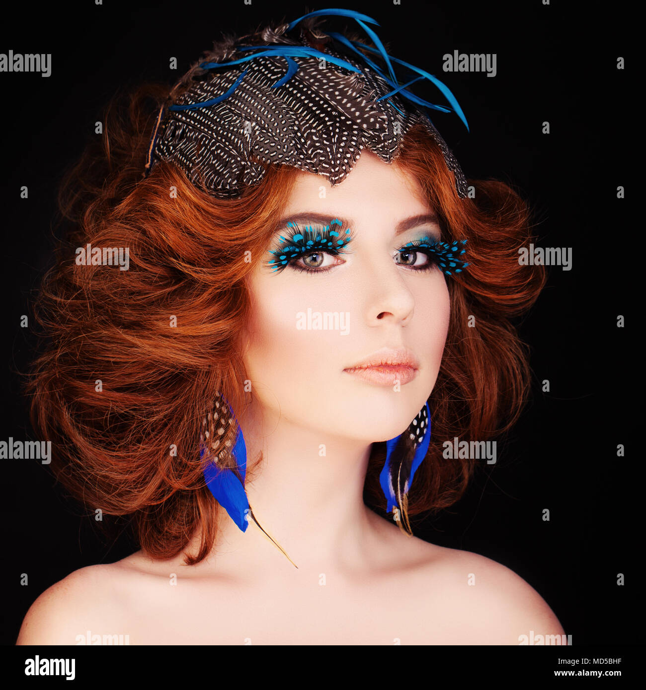 Cute Redhead Woman With Makeup And Red Hair Blue Bird Face Stock