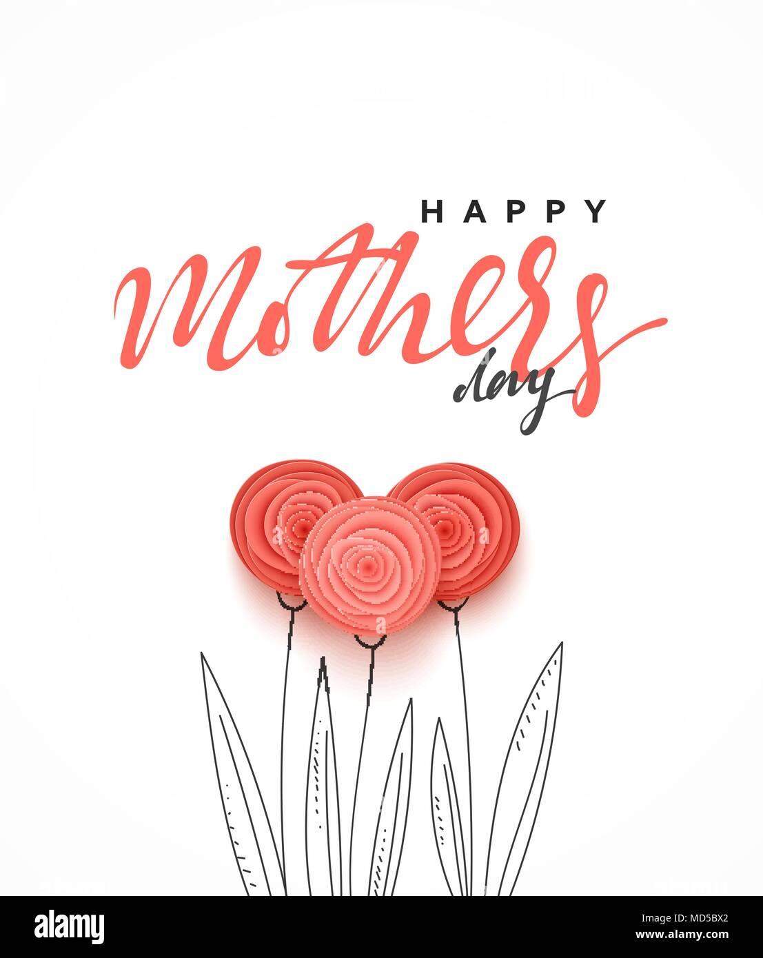 Happy Mothers Day Greeting Card With Beautiful Flowers In The