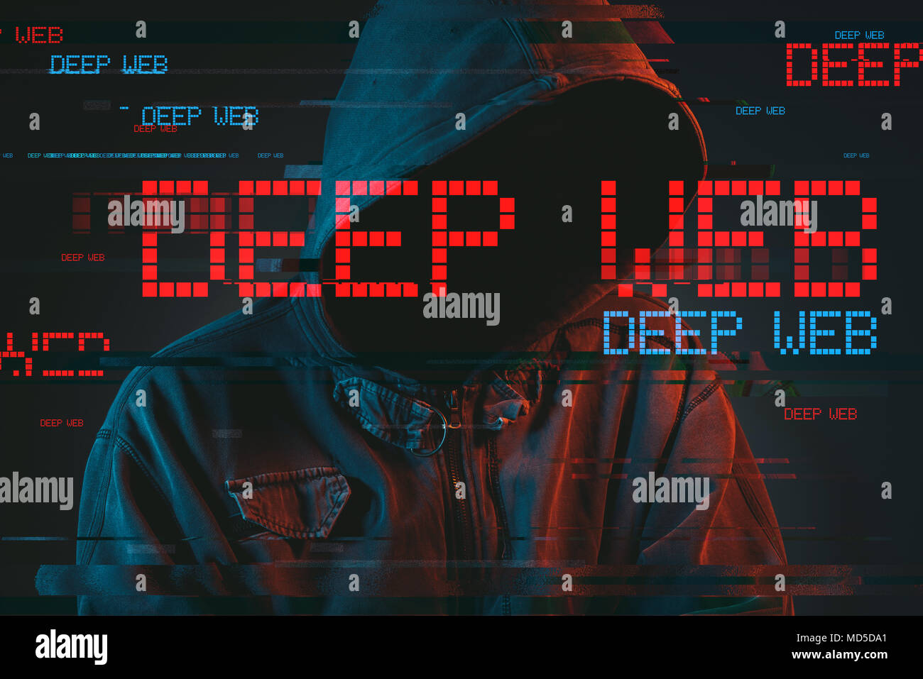 Deep web hacking concept with faceless hooded male person, low key red and blue lit image and digital glitch effect - Stock Image