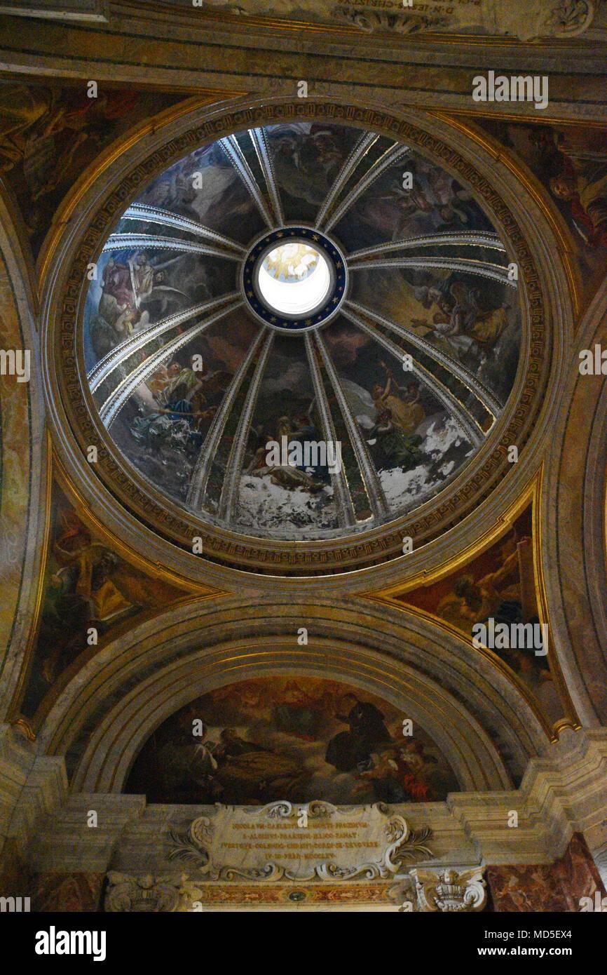 A dome painting in the Sant'Ignazio di Loyola Church. The Church of St. Ignatius of Loyola at Campus Martius (Italian: Chiesa di Sant'Ignazio di Loyol - Stock Image