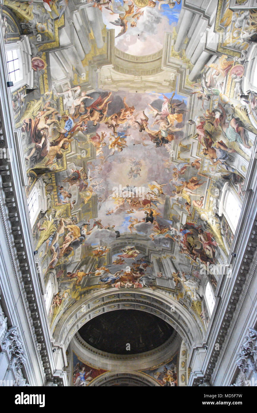 Andrea Pozzo ceiling painting. The Church of St. Ignatius of Loyola at Campus Martius (Italian: Chiesa di Sant'Ignazio di Loyola in Campo Marzio, Lati - Stock Image