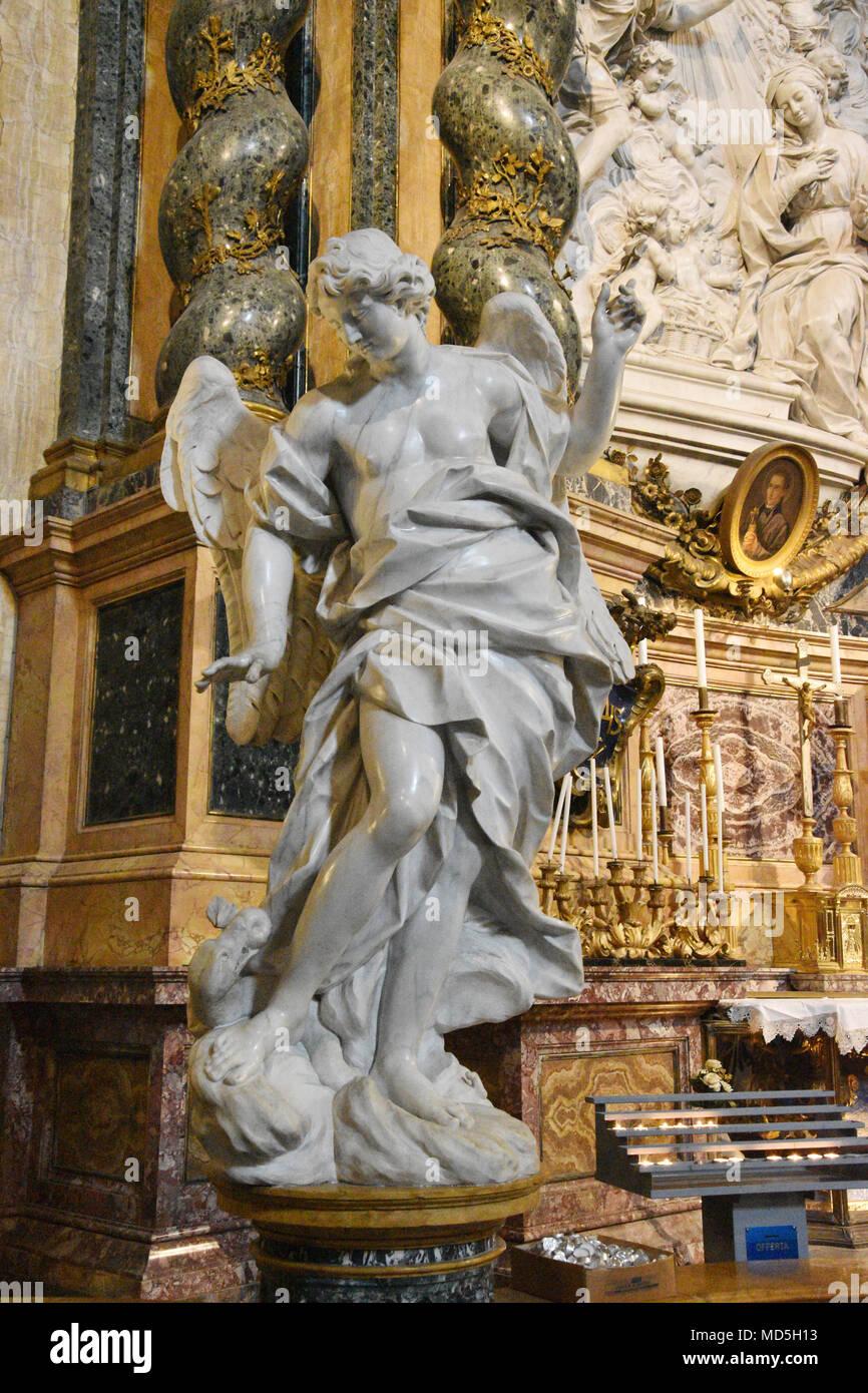 Sculpture in one of the side chapels; The Church of St. Ignatius of Loyola at Campus Martius (Italian: Chiesa di Sant'Ignazio di Loyola in Campo Marzi - Stock Image