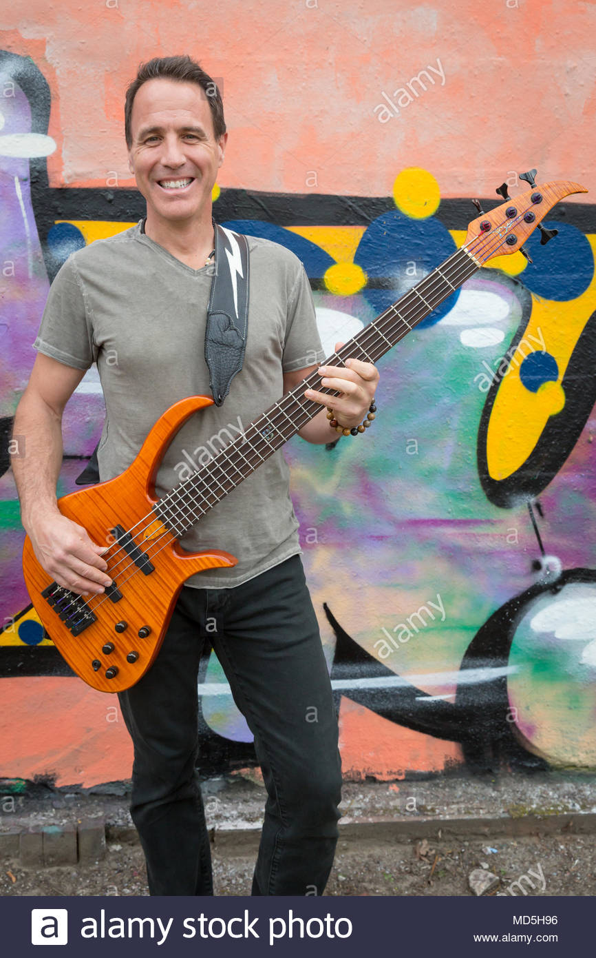 Sterling Cottam bass man of YouTube star Mike Massé on an exclusive photo shooting at the Lindenpark in Potsdam, Germany. Stock Photo