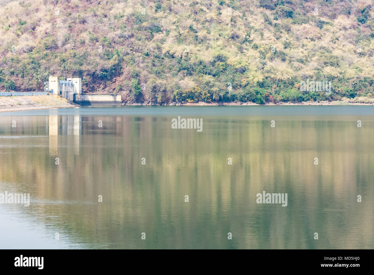 A side view of dam from a side of high side looking awesome. Stock Photo