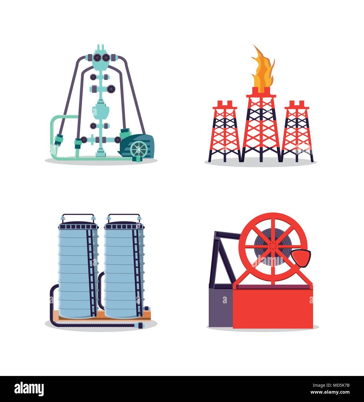 oil industry set icons vector illustration design Stock Vector