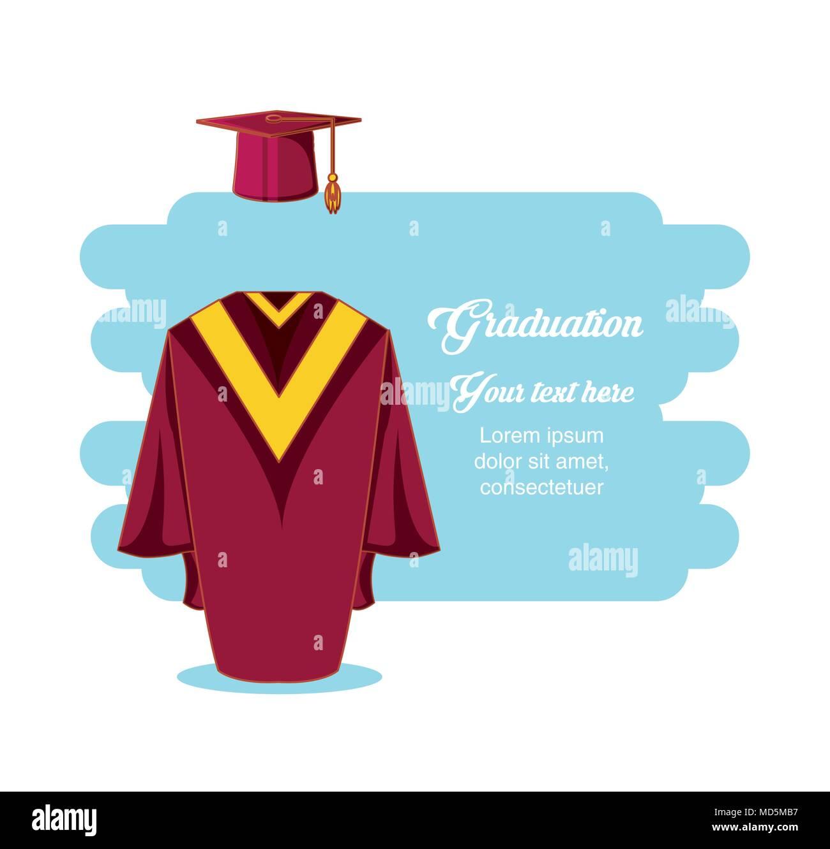 graduation card with suit uniform vector illustration design