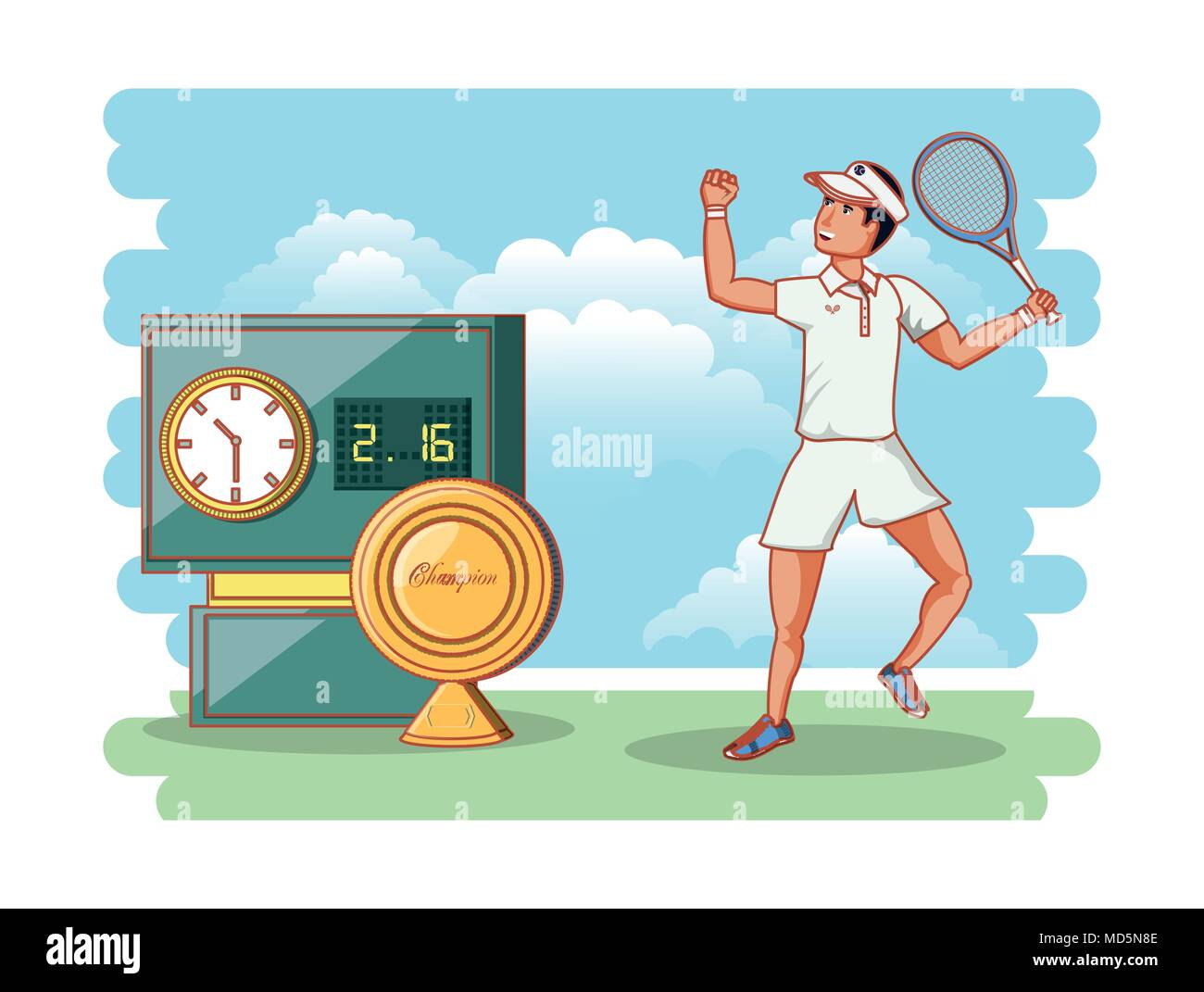 man playing tennis character vector illustration design - Stock Vector