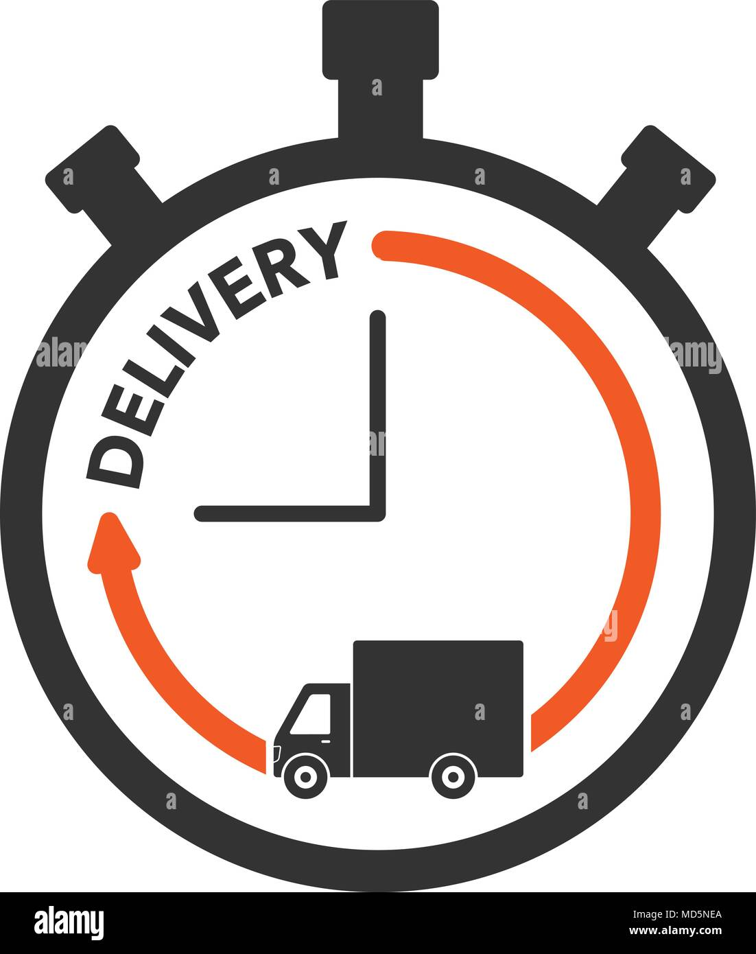 express delivery icon concept stop watch with truck icon