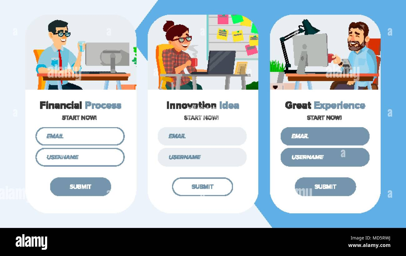 Website Banners Vector. Business Website. Site Scheme Template. Cartoon People. Creativity Goal. Illustration - Stock Vector