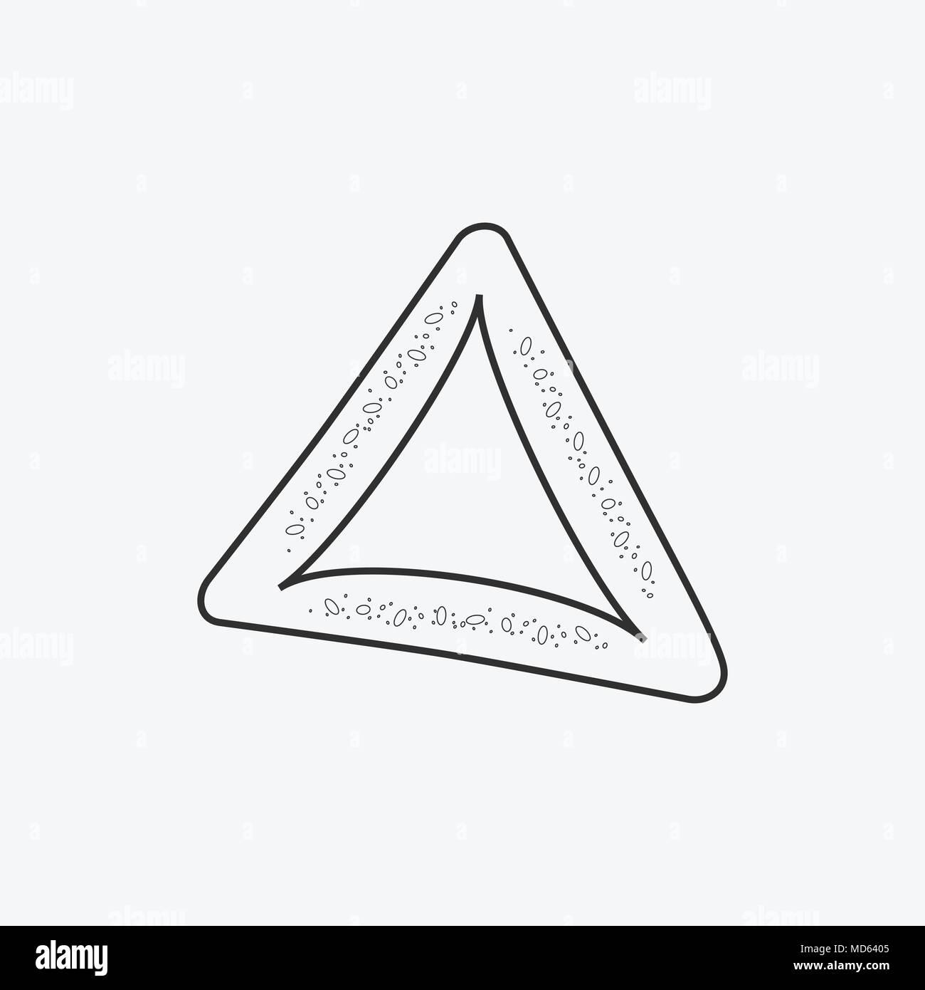 Purim holiday hamantash flat black outline design icon. Vector eps10 illustration. - Stock Image