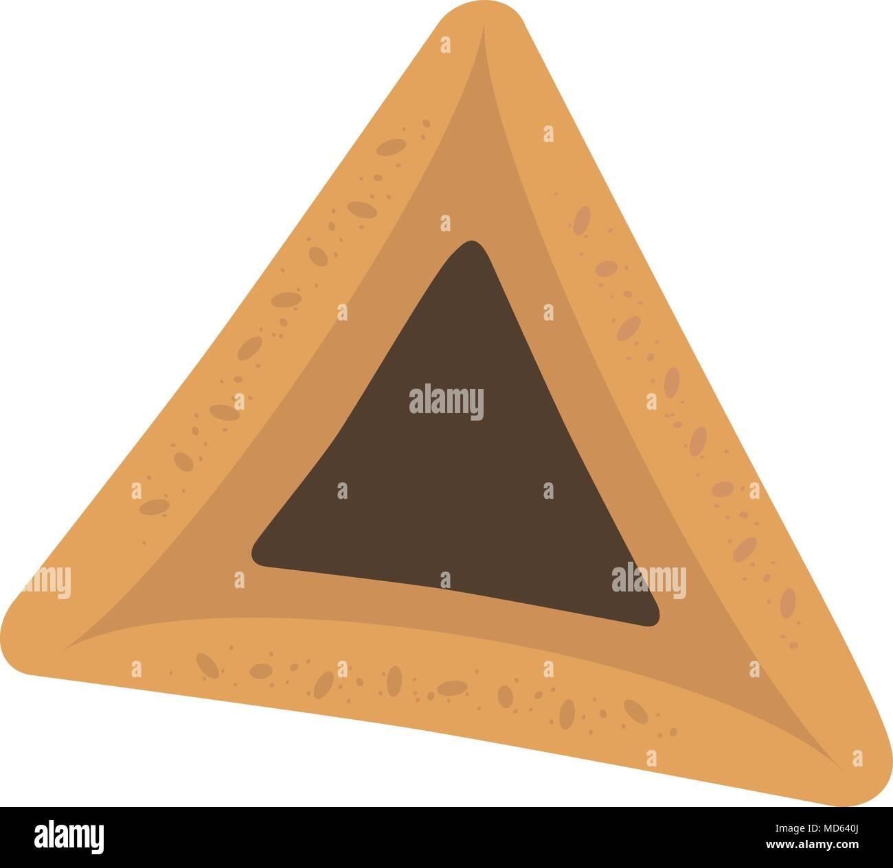 Purim holiday hamantash with chocolate  flat design icon. Vector eps10 illustration. - Stock Image