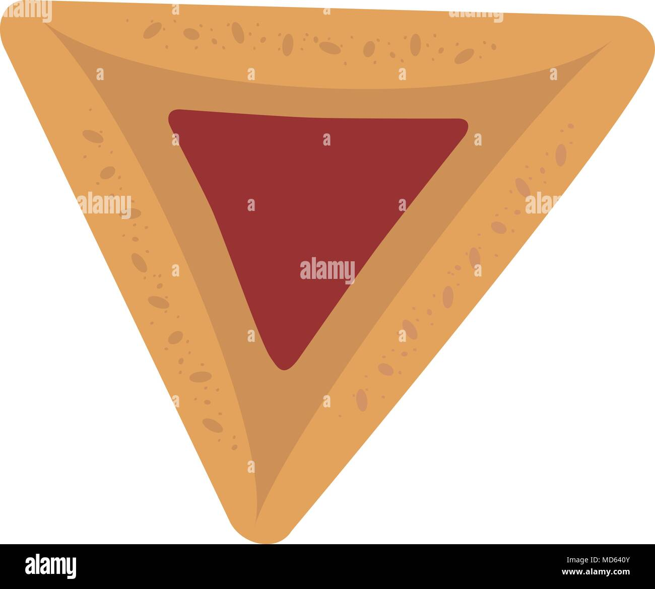 Purim holiday hamantash with strawberry jam flat design icon. Vector eps10 illustration. - Stock Image