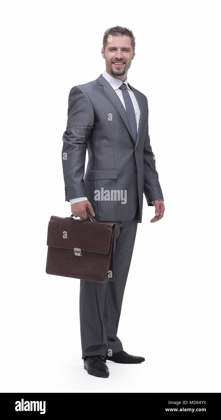 in full growth.businessman with a briefcase. - Stock Image