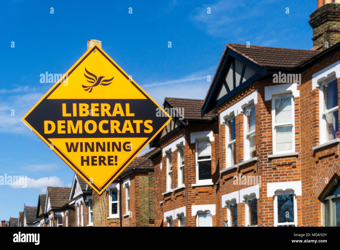 A Liberal Democrats election sign in the London Borough of Bromley, South London, before the May 2018 local elections. Suburban housing in background. - Stock Image