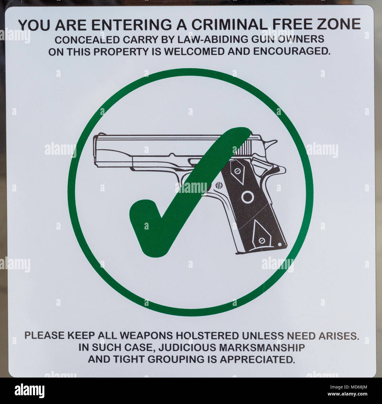 West Texas, sign in store window supporting weapon concealed carry - Stock Image