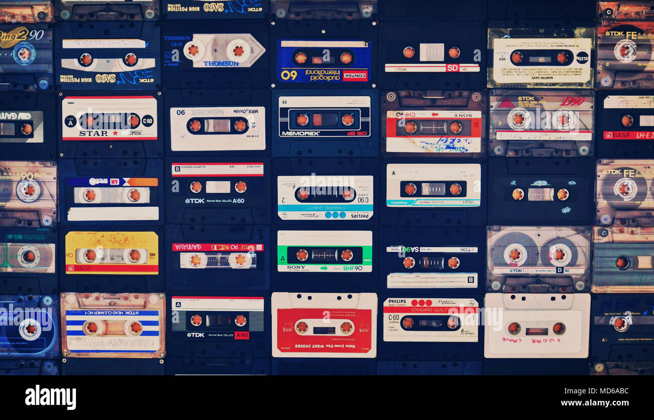 Collection of classic retro cassette tapes - Stock Image