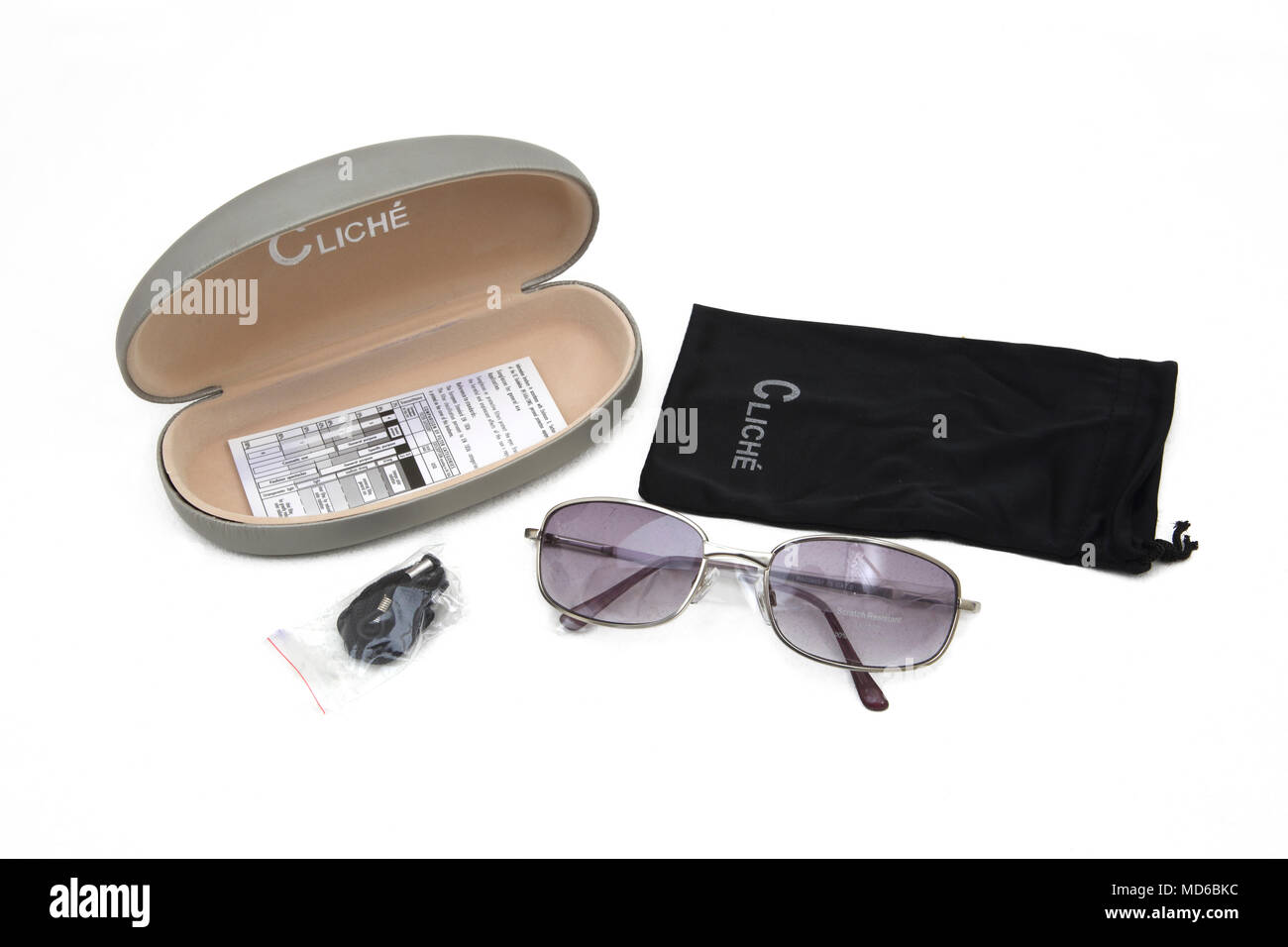 Cliche' UV Tinted Sunglasses hard and Soft Cases - Stock Image