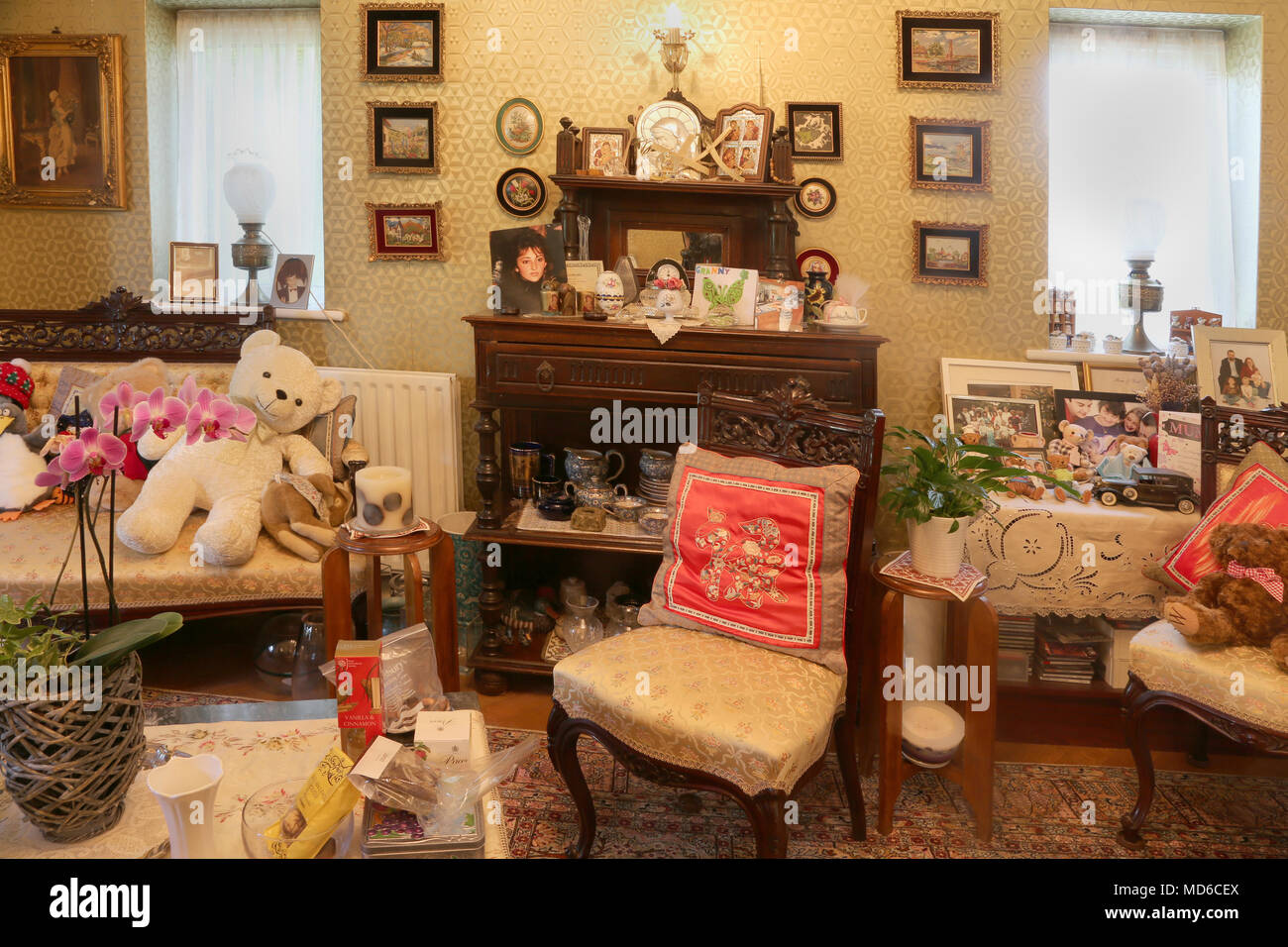 Interior of Sitting Room with Furniture In House Surrey England - Stock Image