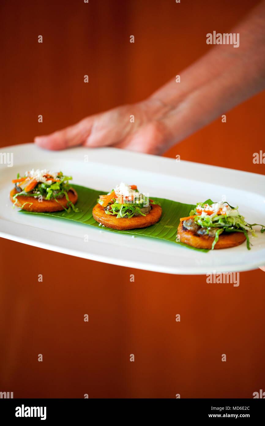 Oyster sopes  Restaurant El Delfin,  San Blas, Riviera Nayarit, Mexico - Stock Image