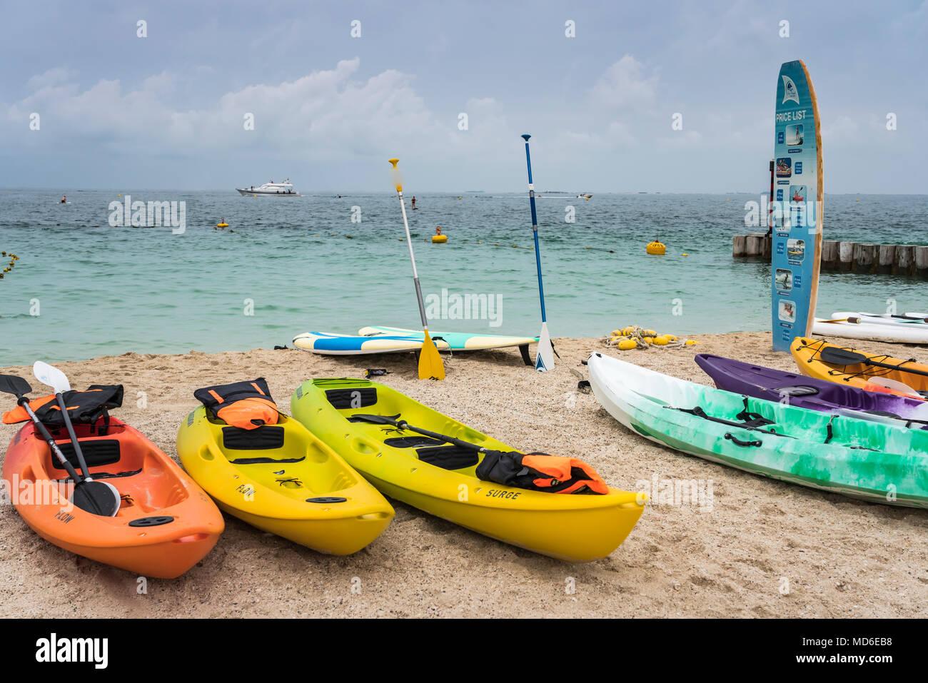Colorful Kayaks At Kite Beach Dubai Uae Middle East Stock Photo