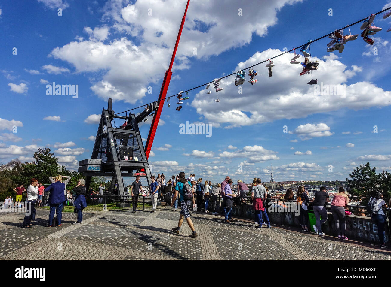 Former Place of Stalin's Monument, Now Popular Place to Meet, People at Prague Metronome, Prague Letna Park Prague, Czech Republic - Stock Image