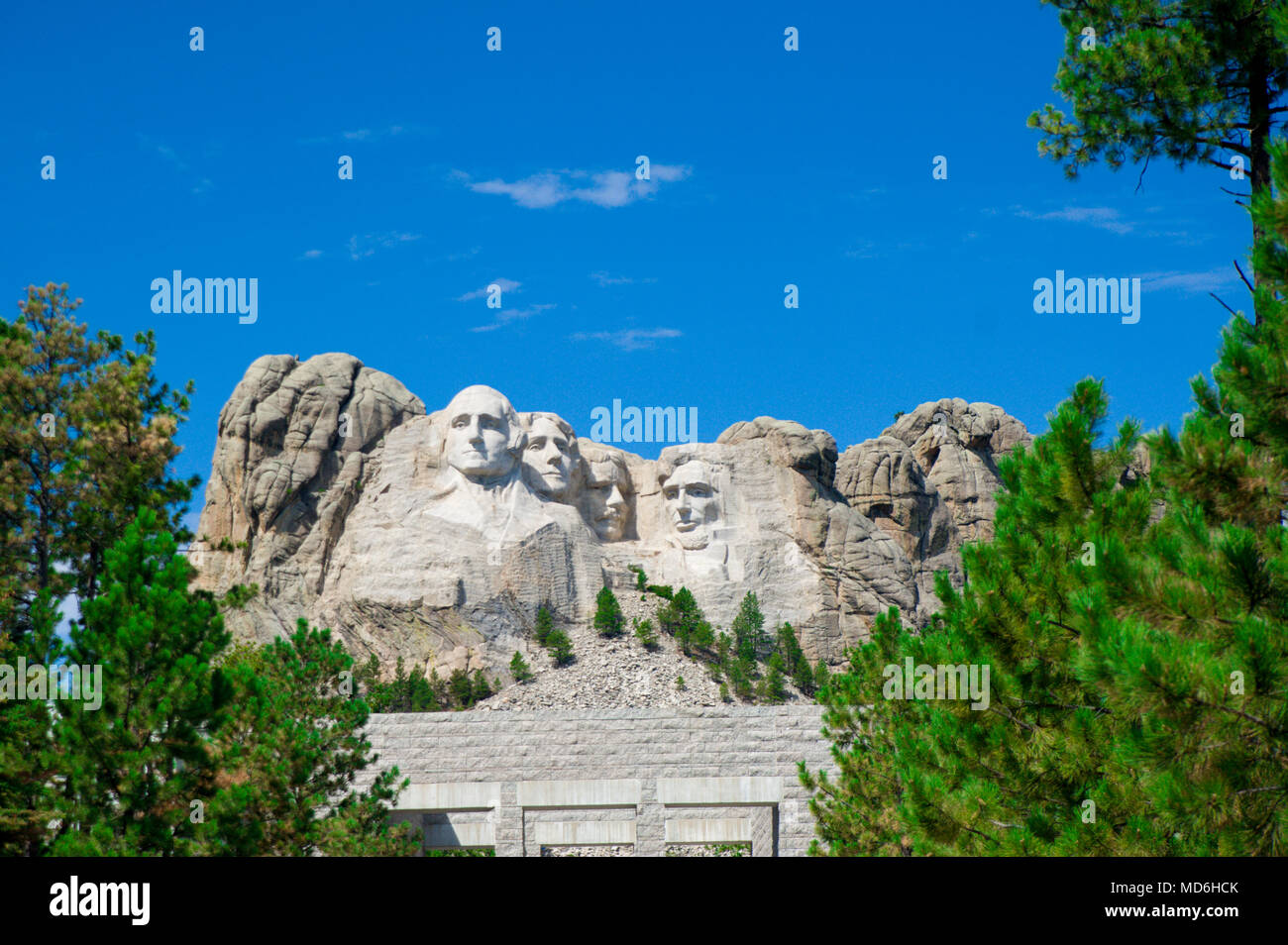 Mount Rushmore is the granite face located in a batholith in the Black Hills in Keystone, South Dakota, United States. - Stock Image